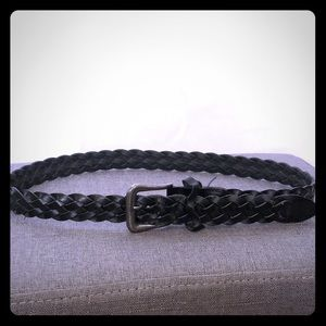 """Black leather braided belt- fits up to 35"""" waist"""